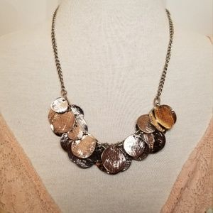 Jewelry - Heavy silvertone coin statement necklace
